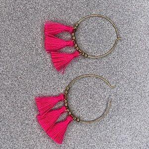 Jewelry - Pink Tassel Hoop Earrings
